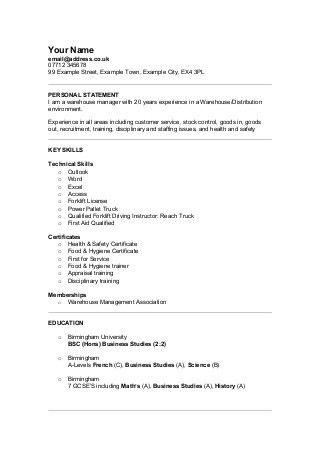 Warehouse Manager | LinkedIn