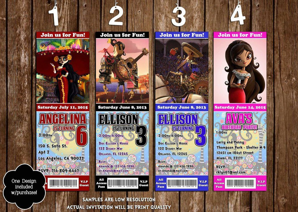 Novel Concept Designs - Book of Life Birthday Party Ticket Invitations