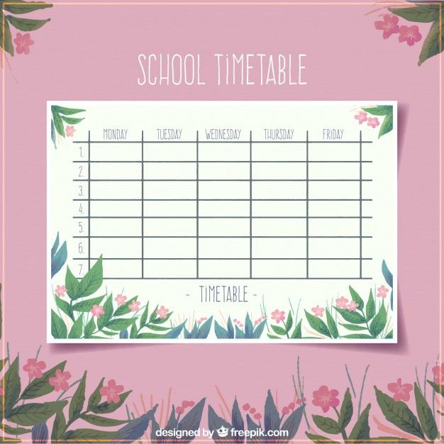 Floral pink school timetable template Vector | Free Download