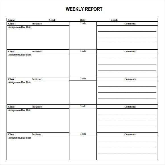 weekly report template samples