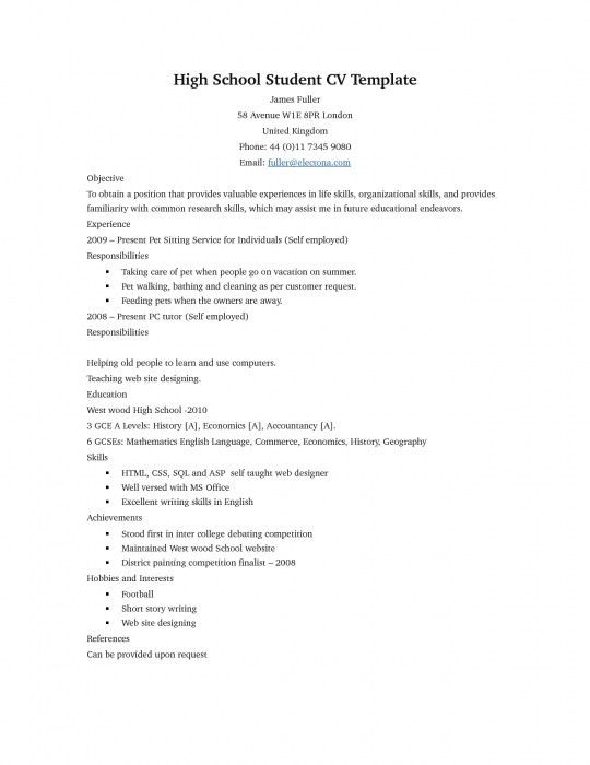 The Awesome Sample Resume For Students In High School | Resume ...