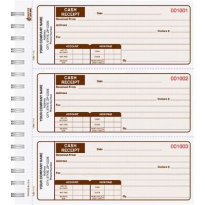 Cash Receipt Book, 3/page, Duplicate, 225 Sets/Book, Brown | Quill.com