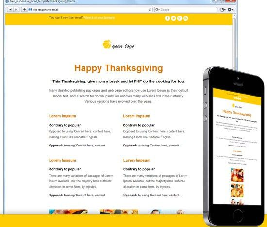 Free Responsive Email Template: Thanksgiving Theme