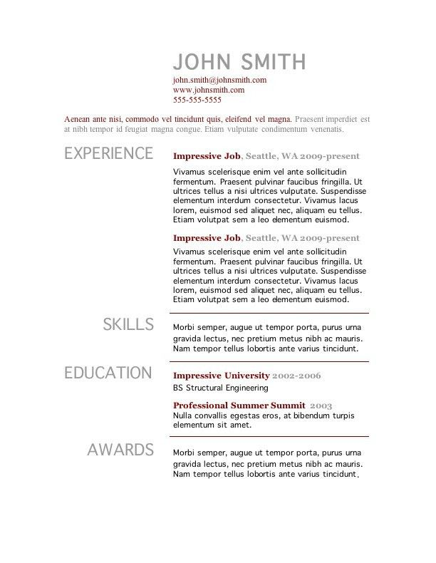 Great Resume Templates Free