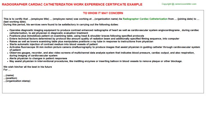 Radiographer Cardiac Catheterization Work Experience Letters