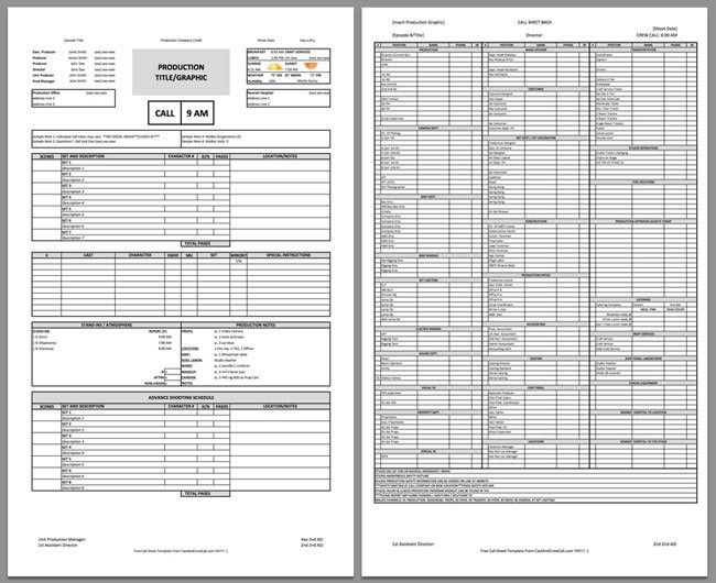 Free two page Professional Call Sheet Template