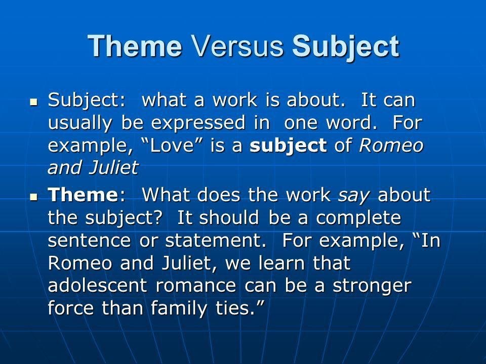 """Theme Definition of theme Elements of Theme How to """"find"""" themes ..."""