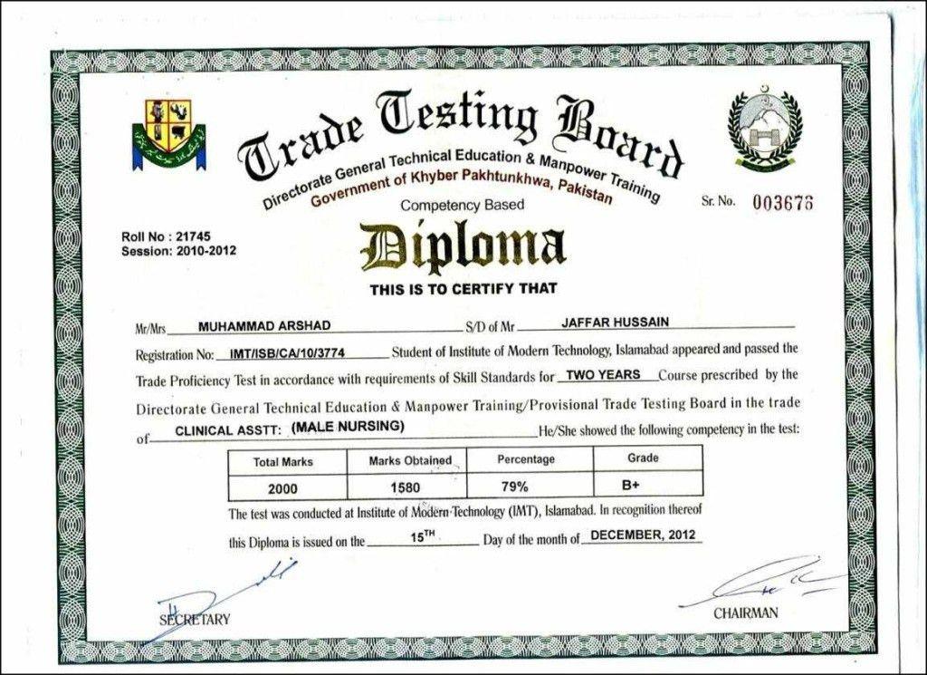 Diploma Certificate Format In Word | Certificate234