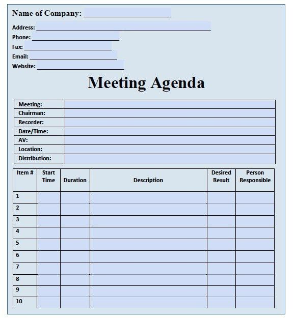 Agenda Template Word | Professional Templates - Part 2