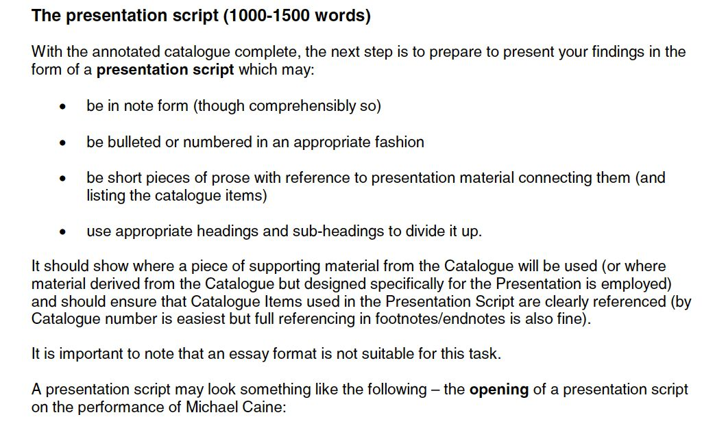 FM3: Example Scripts - Film Studies