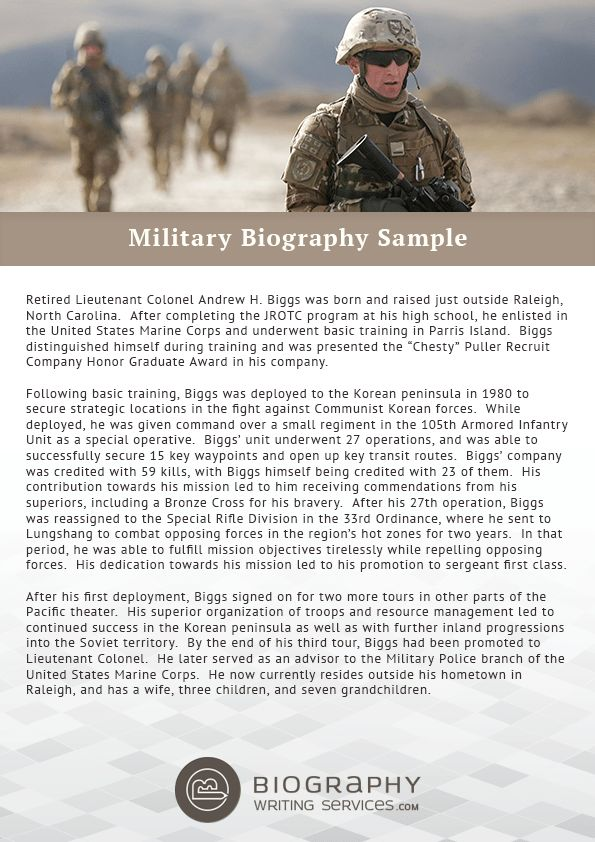 Military Biography Format Writing | Biography Writing Services