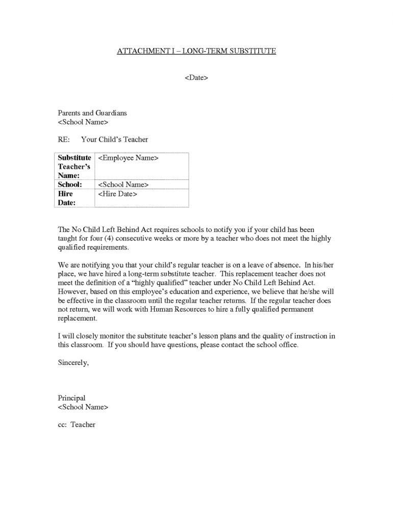 Cover Letter For Substitute Teaching Resume - Schoodie.com
