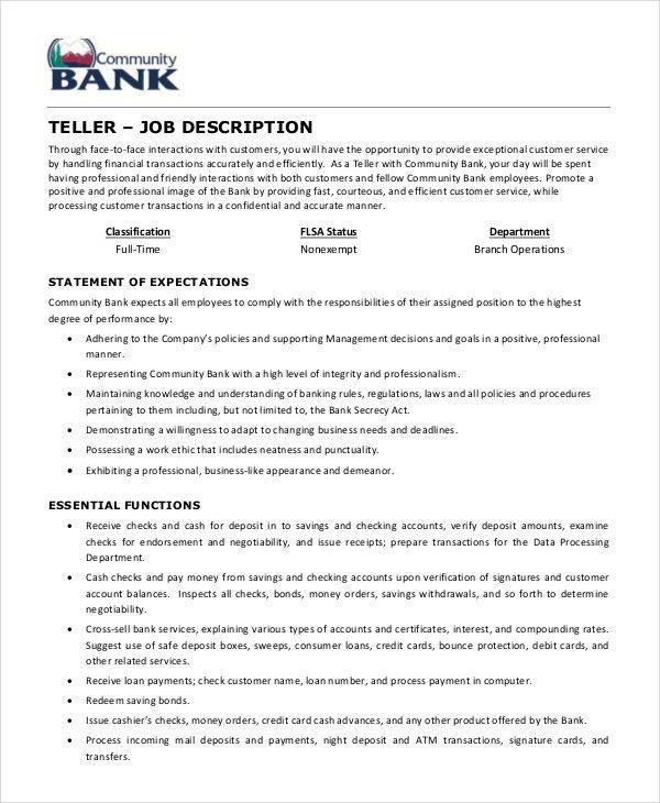 teller job description for resumes