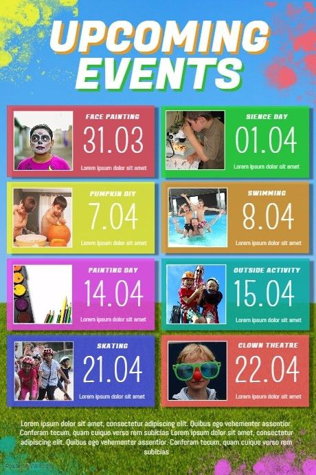 Kids Upcoming Events Flyer Template | PosterMyWall