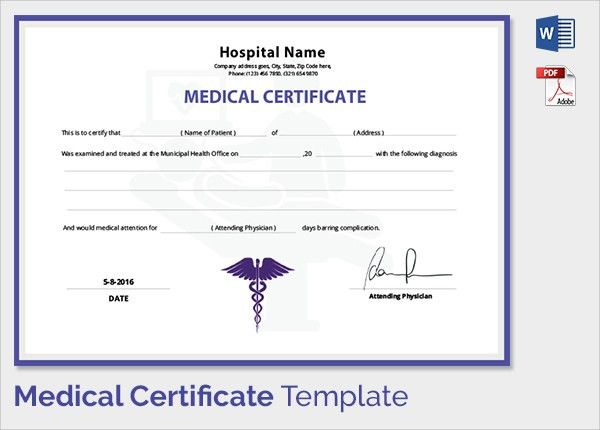 Medical certificate sample medical certificate template 20 free sample medical certificate 27 download documents in pdf word yadclub Image collections