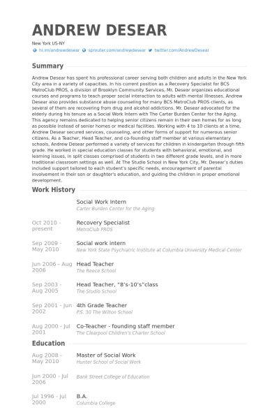 Social Work Intern Resume samples - VisualCV resume samples database