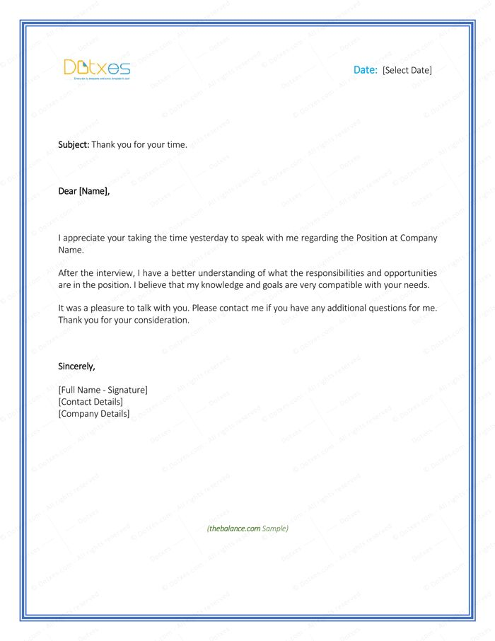 Sample Thank You Letter After Interview - 5 Plus Best Templates ...