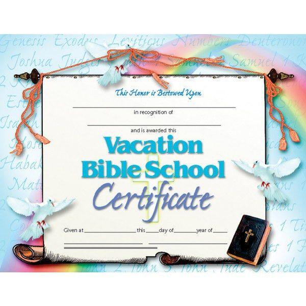 Vacation Bible School Certificate, VA542 | Hayes School Publishing ...