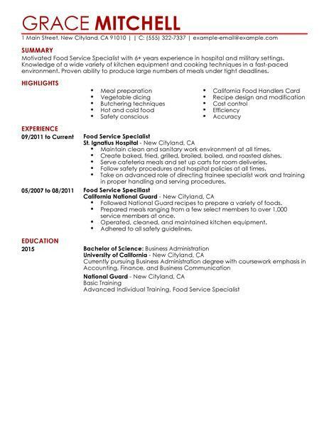food preparation resume