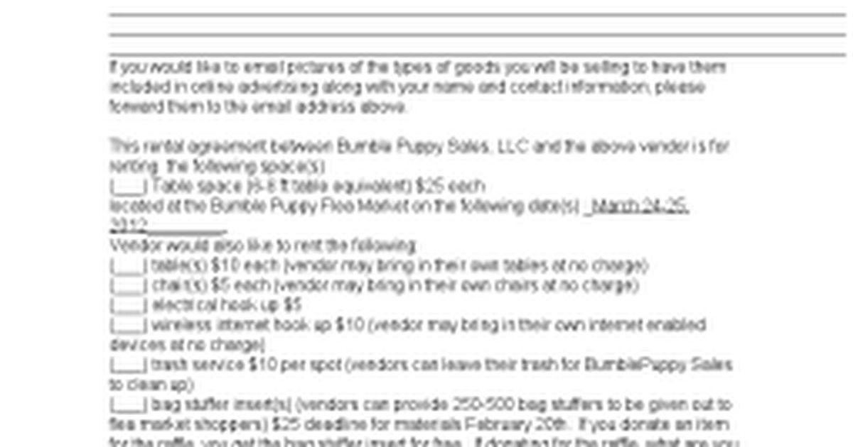 Flea Market Agreement - Google Docs