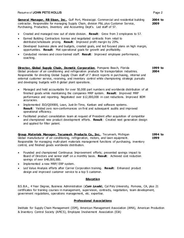 RESUME JOHN HOLLIS 2016
