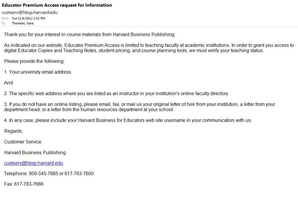Educator Premium Access Request – Harvard Business Publishing