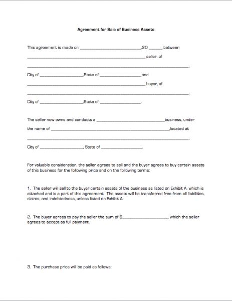 Agreement for Sale of Business Assets | Business Forms