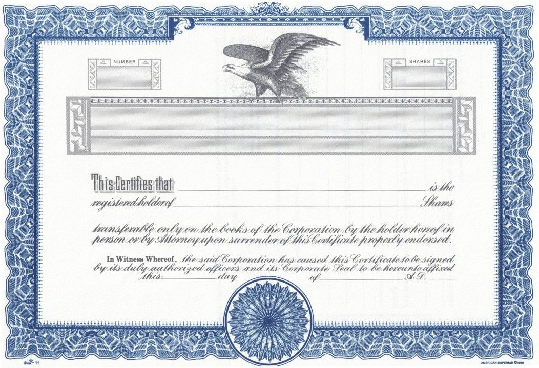 corporate bond certificate template