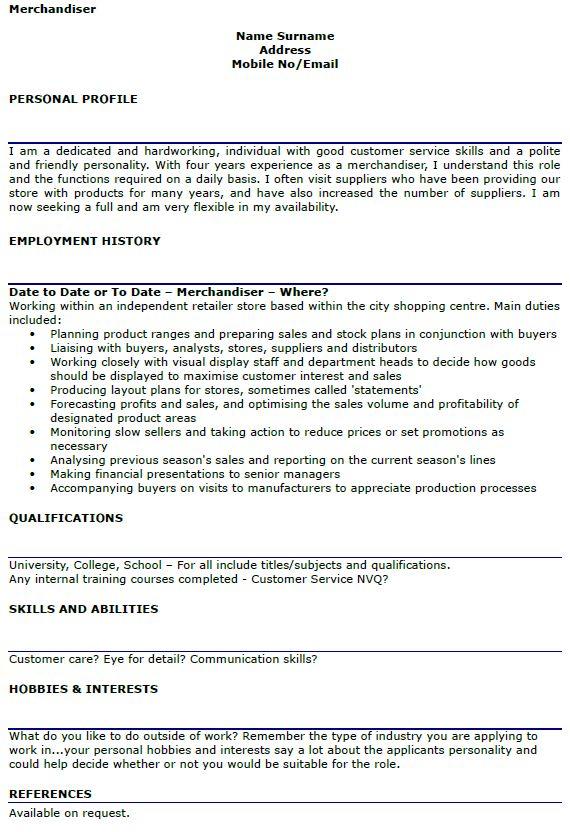 Merchandiser CV Example - lettercv.com