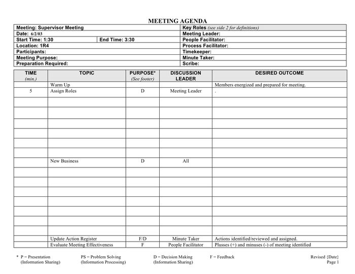 Meeting agenda form template in Word and Pdf formats