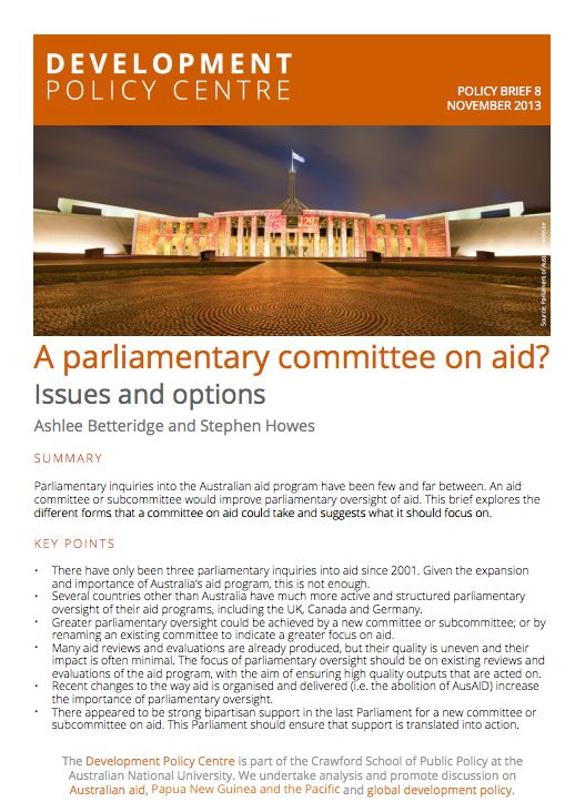 Ashlee Betteridge – Policy brief: A parliamentary committee on aid ...