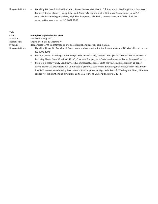 CV Krishna mall-Manager ( Plant & Equipment )