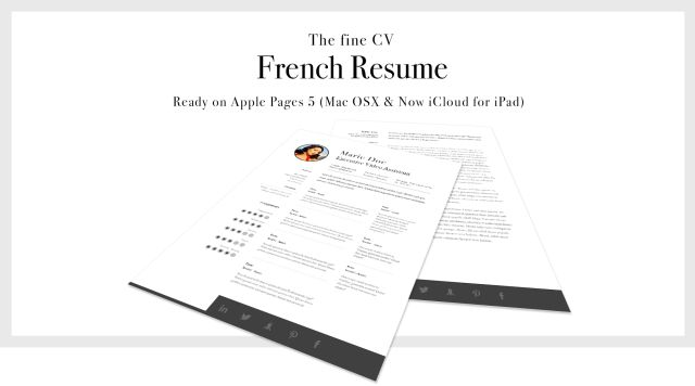 French Fine CV Resume template for Apple Pages 5 for Mac OSX ...