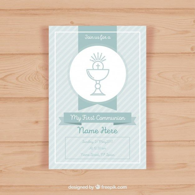 First communion invitation template Vector | Free Download