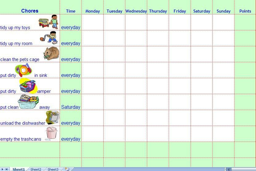 Chore List Template. Blank Word Template Of A Family Chore Chart ...