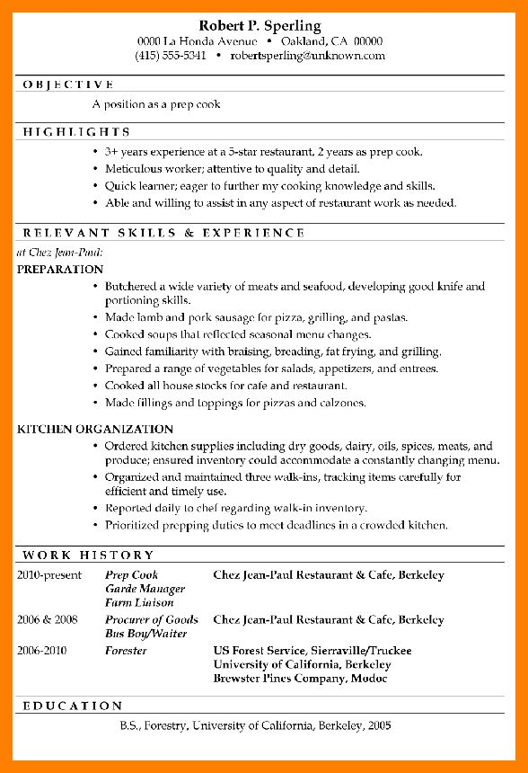 Sample Resume Pizza Cook. cooks resume resume cv cover letter ...