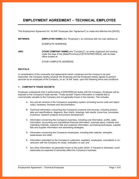 employment agreement sample | soap format