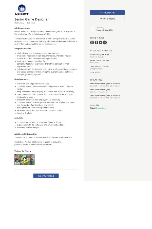 Senior Game Designer job at Ubisoft in Milano, Italy | Tapwage Job ...