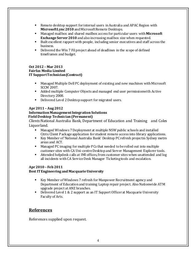 it desktop support resume support technician resume download