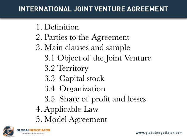 INTERNATIONAL JOINT VENTURE AGREEMENT TEMPLATE