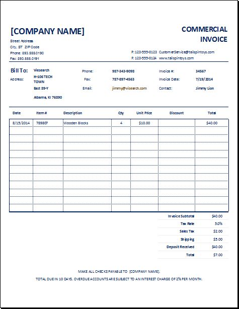 Customizable Commercial Invoice Template | EXCEL INVOICE TEMPLATES