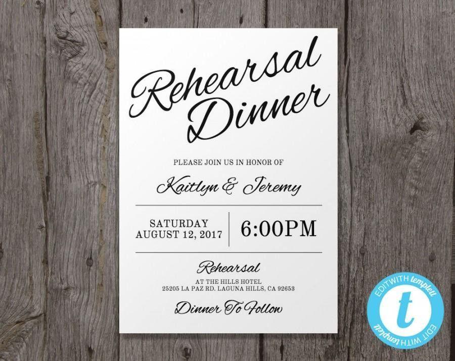 Printable Wedding Rehearsal Dinner Invitation Template, Instant ...