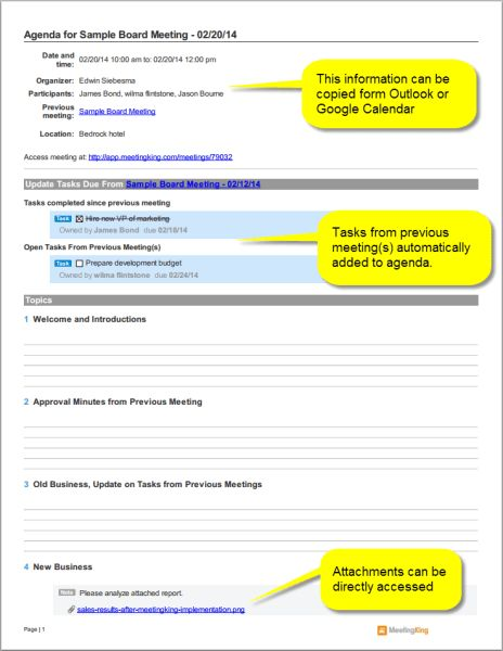 sample board meeting agenda template - Meeting Agenda & Meeting ...
