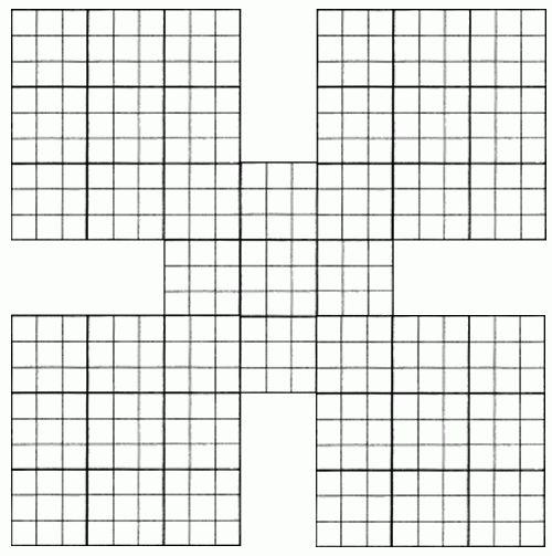 Blank Printable Samurai Sudoko Grid
