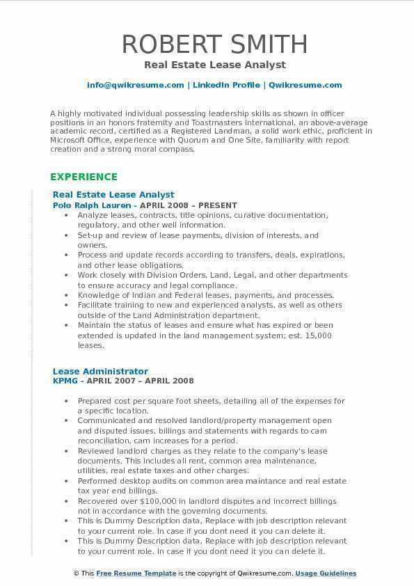 Real Estate Resume Sample Pdf - Ecordura.com