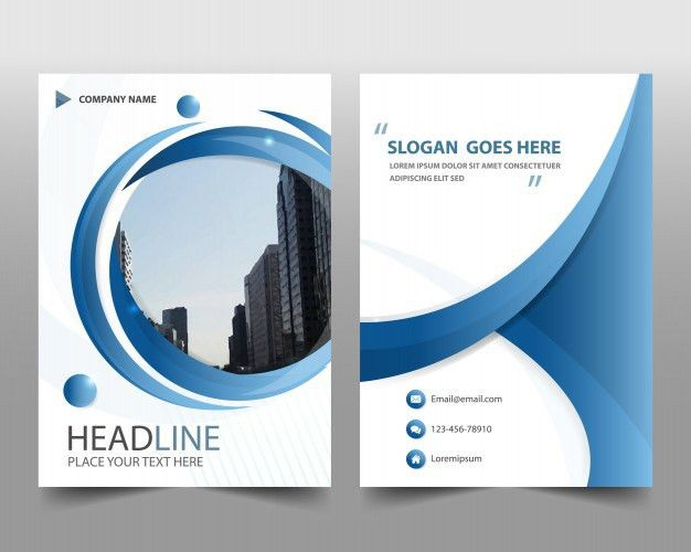 Blue round modern annual report template Vector | Free Download