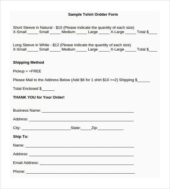 T Shirt Order Form Template Word   Template Business
