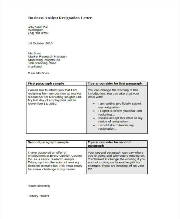 Resignation Letters Example. Printable Sample Letter Of ...