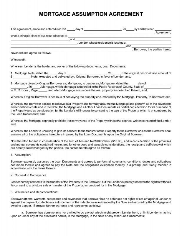 MORTGAGE ASSUMPTION AGREEMENT - Nevada Legal Forms & Tax Services Inc.