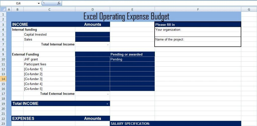 Get Excel Operating Expense Budget Template XLS - Excel XLS Templates